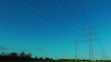 Electric Poles and the Traffic — Stock Video