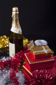 Gift Box and Champagne — Stok fotoğraf