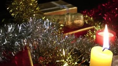 Gift Box and Candles — Stockvideo