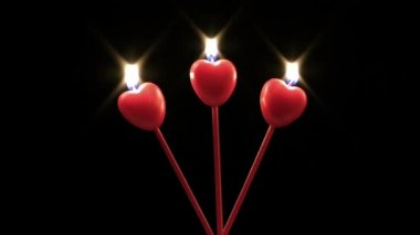 Heart Shape of Candles — Stock Video