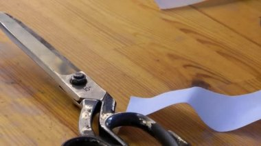 Scissors Ribbons and Fabric Rolls in the Tailor — Stock Video