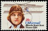Förenade uttalade av Amerika. flygpost stämpel som skildrar blanche stuar — Stockfoto