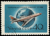 USSR - CIRCA 1958: A Stamp Printed in USSR Shows the Airplane Tu — 图库照片