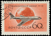 USSR - CIRCA 1958: A Stamp Printed in USSR Shows the Airplane Tu — Foto Stock
