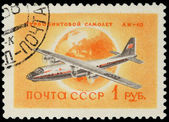 USSR - CIRCA 1958: A Stamp Printed in USSR Shows the Airplane An — Stock Photo