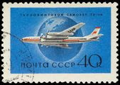 USSR - CIRCA 1958: A Stamp Printed in USSR Shows the Airplane Tu — Stock Photo