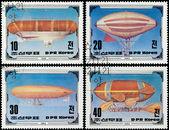 KOREA - CIRCA 1982: A stamp printed in Korea showing airship, ci — Stock Photo