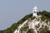 Monument on chalky mountain in Sviatogorsk — Stock Photo