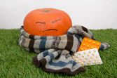Pumpkin wrapped in a scarf and drugs — Foto de Stock