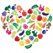 Stock Vector: Vector heart made of fruits and vegetables
