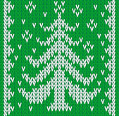 Vector knitting seamless background: christmass tree — Stock Vector