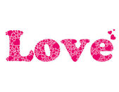 """Vector word """"love"""" made of small hearts — Stock Vector"""