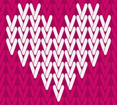 Vector knitting seamless background with heart — Stock Vector