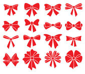 Vector collection of red bows on white background — Stock Vector