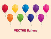 Collection of colorful vector balloons — Stock Vector