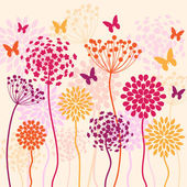 Summer colorful vector background with flowers and butterflies — Vettoriale Stock