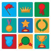 Vector insamling av award och trophy symboler — Stockvektor