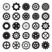 Vector set of gear wheels on white background — Stock Vector