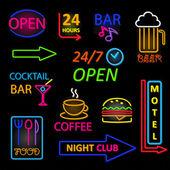 Vector neon icon set — Stock Vector