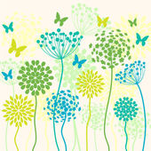 Summer colorful vector background with flowers and butterflies — Stock Vector