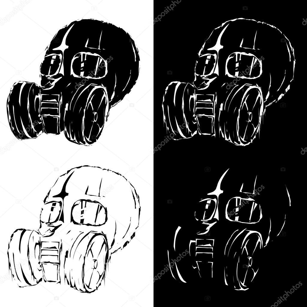 Gas Mask Silhouette Vector Vector grunge style gas mask - stock    Gas Mask Silhouette Vector