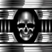 Vector skull on metal background — Stock Vector