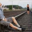 She leaves her young man and goes by rail — Stock Photo