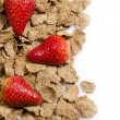 Bran flakes and strawberries 1 — Stock Photo