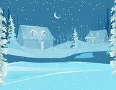 счастливого рождества фона карты и зимой — Cтоковый вектор