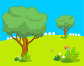 Spring and background landscape — Stock Vector