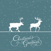 Christmas blue greeting card with deers — Stock Vector