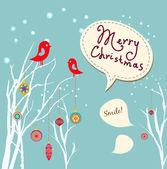 Retro weihnachtskarte mit zwei vögel, weißen schneeflocken winter bäume und kugeln — Stockvektor