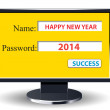 Happy new year 2014 retro with computer username and password — Stock Vector