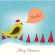 Christmas card with bird — Stock Vector
