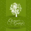 Green banned christmas card with christmas tree — Stock Vector