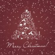 Merry christmas card with christmas trees 3 — Stockvectorbeeld