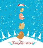 Merry christmas card with christmas bird — Stock Vector