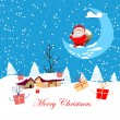 New year and christmas card cartoon concept winter background a santa claus — Stock Vector #33702849