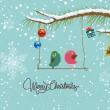 Merry christmas card with two bird — Vettoriale Stock