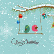 Merry christmas card with two bird — Vector de stock