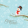Merry christmas card with snowman — Stock Vector