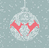 Blue and white christmas ball — Stock Vector