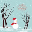 Stock Vector: Merry christmas card Snowman