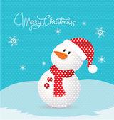 Frohe Weihnachten mit Schneemann-retro — Stockvektor