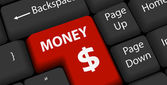 Money on keyboard Enter — Stock Vector