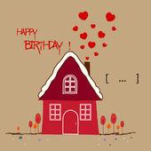 Happy birth day Warm home — Stock Vector