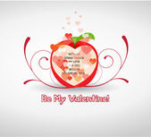 Happy valentine greetings with apple — Stock Vector