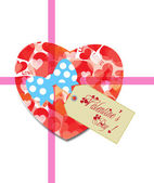 Valentine gift tag hearts card — Stock Vector