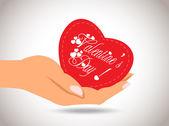 Dia dos namorados coração na mão — Vetor de Stock