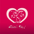 Valentine heart vecter pink background — Vector de stock